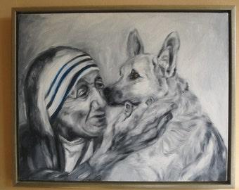 German Shepard and Mother Theresa Meet