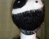 Handmade Yin Yang Beanie hat / Ying and Yang crocheted Black and White Beanie (Cap Snood head cover)