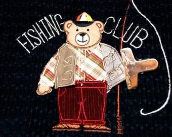 Handmade Corduroy Waistcoat / Fishing Club Vest / Unisex Child Vest/Embroidery Corduroy Child Vest