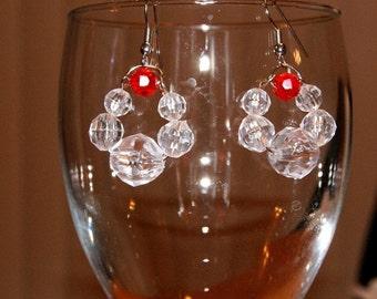 Handcrafted Christmas wreath earrings / Christmas Spirit Earrings / Crystal Clear and Red Earrings