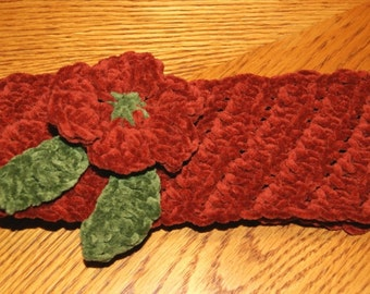 Reversible Headband with crochet flower / Tunisian Crochet Suede Headband / Handmade Earwarmer with Vintage Buttons Ready to Ship