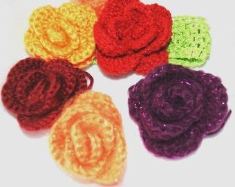 Hand crochet 3D Rosebud / Handmade Rose Flower on matching elastic band or fabric Hair scrunchy, pick any color