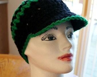 Hand Crochet Newsboy Cap in Football Team Colors / Handmade newsboy beanie , pick your colors / custom size hat