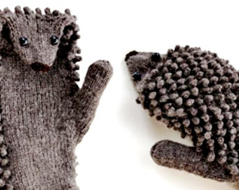 Hand Knit Hedgehog Mittens / Moorhouse Mittens / adult sizes in any color or fiber / Hedgehog Mitts made to order / Gloves