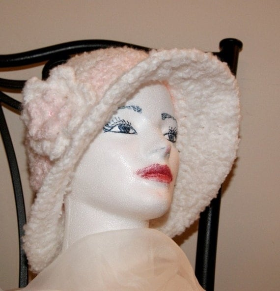 The Good Witch / Hand Crochet Cloche with Brim / Flapper bucket hat / Bridal Hat with Crochet Flower / Cotton Candy Bridal Cloche