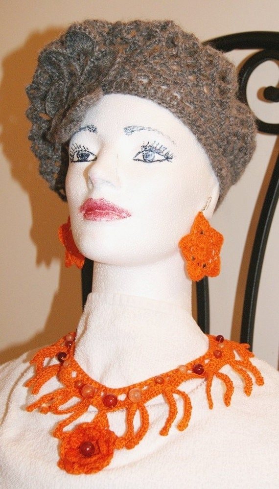 Hand Crochet ABBA style Tam with Crochet Rose / Light Ivory Snood / Lace hat / Made to order in any size or color