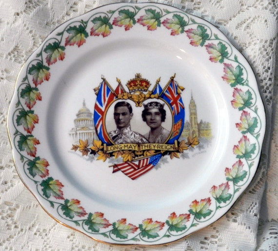 commemorative plate.....1939...king george VI and queen elizabeth..visit canada and unted states...