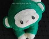 Spunky the Monkey - Stuffed Felt Animal Magnet/Keychain/Ornament (Green)