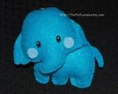 Ellie the Elephant - Stuffed Felt Animal Magnet/Keychain/Ornament (Electric Blue)