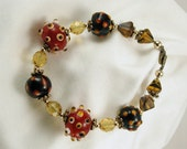Bracelet, Lampwork Glass in Red and Green Polka Dot and 24kt Gold and Vermeil
