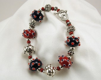 Red, White and Blue Polka Dots Lampwork Glass Bracelet