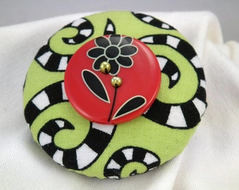 Fun and Funky Green, Black and Red Button with Green Freshwater Pearls Brooch