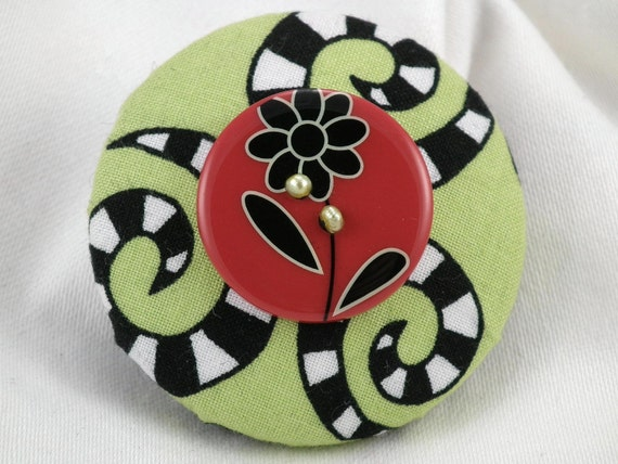 Fun and Funky Green, Black and Red Button with Green Freshwater Pearls Brooch 2