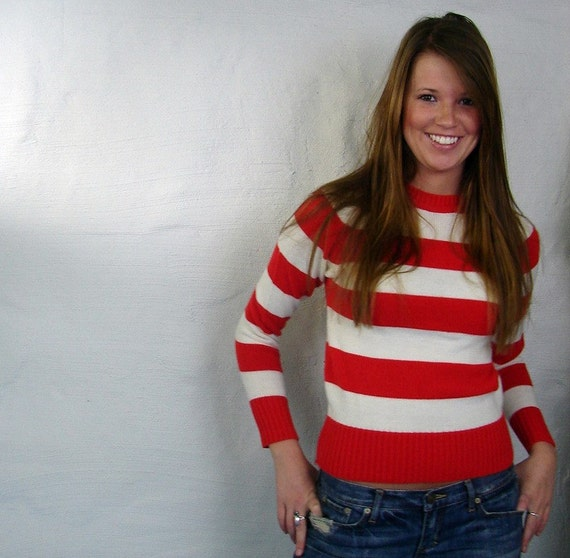 Seven Seas...Vintage 70s Crew Neck Sweater..Wide Red and White Stripes