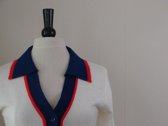 RESERVED FOR ARABELLA ..... 60s Mod  Belted Cardigan Sweater ...It's A Cinch ... Size Medium