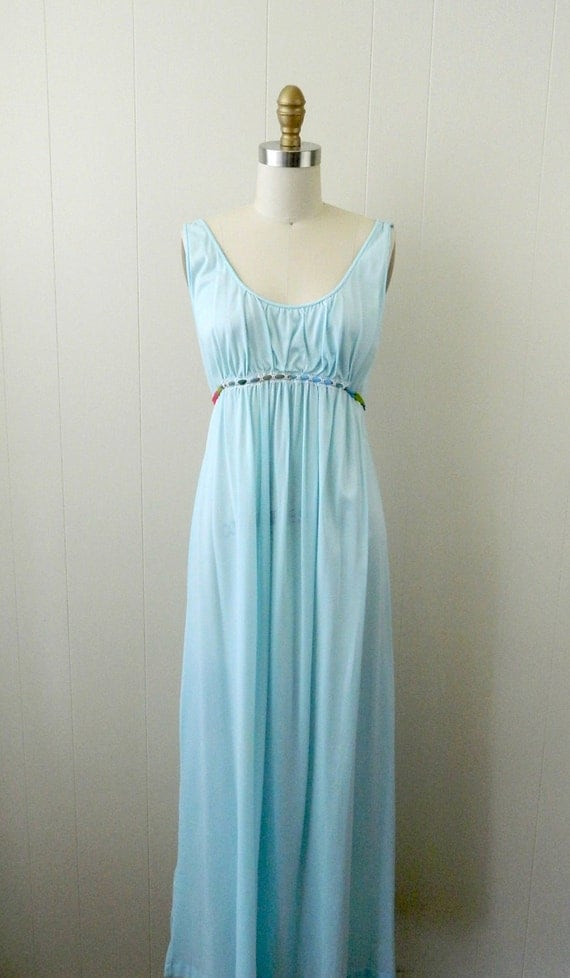 70s Empire Waist Ice Blue Nightgown ...... Sweet Slumber....... Size Small to Medium