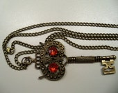 Big key owl antique brass pendant antique necklace