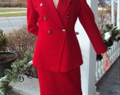 RESERVED for ibuk Lipstick Red DIOR Double Breasted Wool Peplum Skirt Suit 1980s S/M