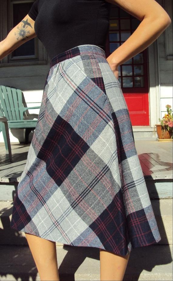 navy plaid wool a line skirt