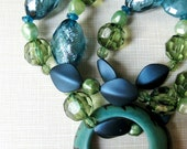 Teal & Green Nursing Mommy Necklace with Tagua Pendant