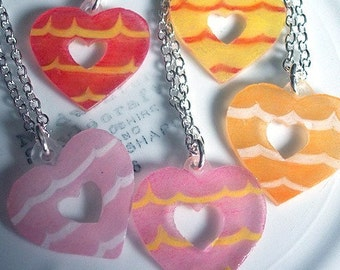 Party Ring Pendant Necklace - Retro Heart shaped biscuit - choose your colours (Pink, Orange, Yellow, Hot Pink, Lilac)