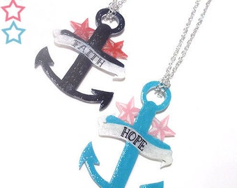 Anchor Necklace with Stars - choose from Faith or Hope, Navy or Turquoise.... Nautical Sailor Pendant
