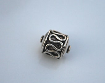 Large Rope Work Sterling Silver Barrel Bead