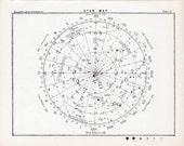 1892 star map 51 original antique celestial astronomy print b & w lithograph
