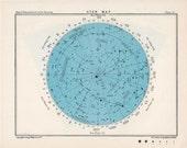 1955 star map 51 constellations original vintage celestial astronomy print