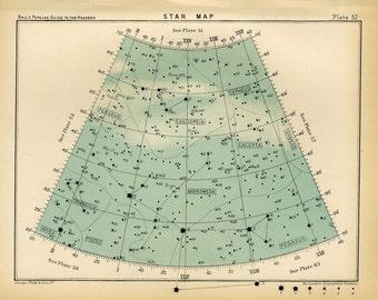 1910 star map arc 52 original antique print