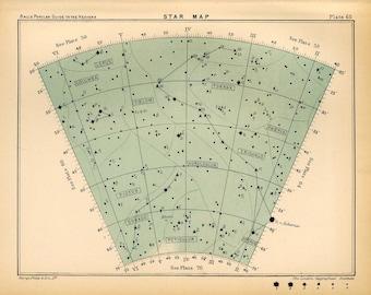 1910 star map arc 65 original antique print