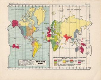 1910 world map antique original print