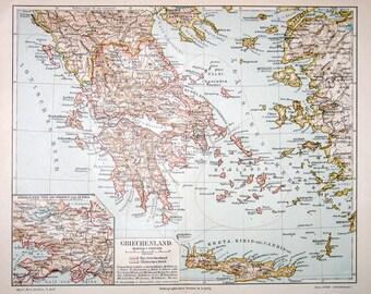 1889 greece map original antique print
