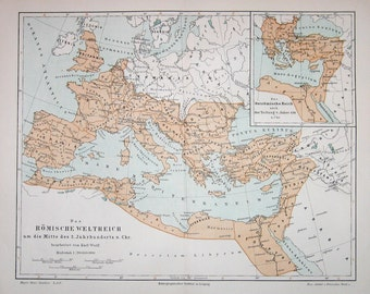1889 roman empire map original antique print