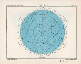 1955 star map 51 constellations original vintage celestial astronomy print