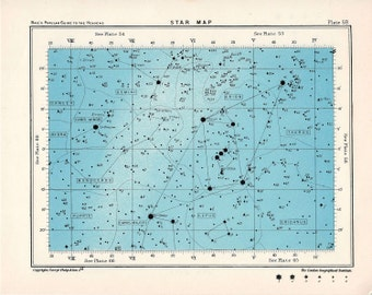 1955 star map 59 & 60 constellations original vintage celestial print rectangle