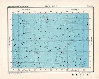 1955 star map 61 constellations original vintage celestial print rectangle
