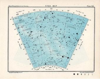 1955 star map arc 68 constellations original vintage celestial print