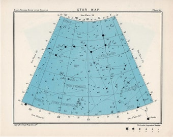 1955 star map arc 55 & 56 constellations original vintage celestial print