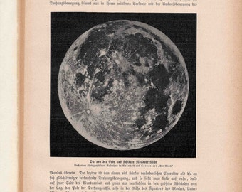 1900 FULL MOON print original antique celestial astronomy lithograph lunar surface