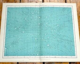 1908 astronomy chart original antique celestial print - map of the stars no 1