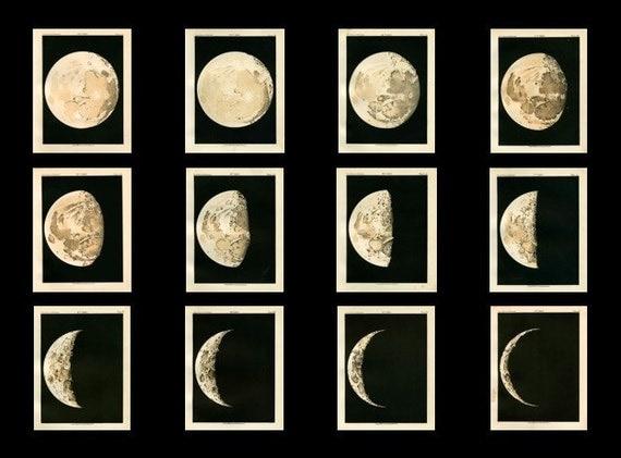 set of 12 prints 1892 moon phases original antique lithographs