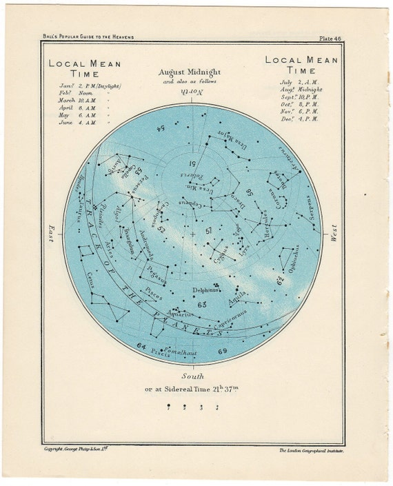 1955 august vintage star map celestial print