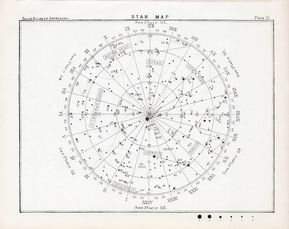 1892 STAR MAP 51 original antique celestial astronomy print b