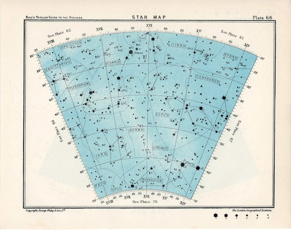1955 star map arc 68 constellations original vintage celestial print