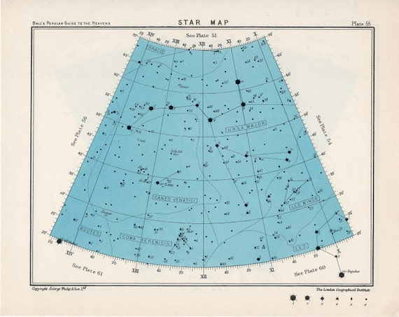 1955 star map arc 55 & 56 constellations original vintage celestial print