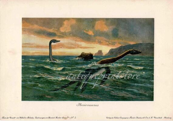 1902 dinosaur plesiosaurs rare antique reptile print
