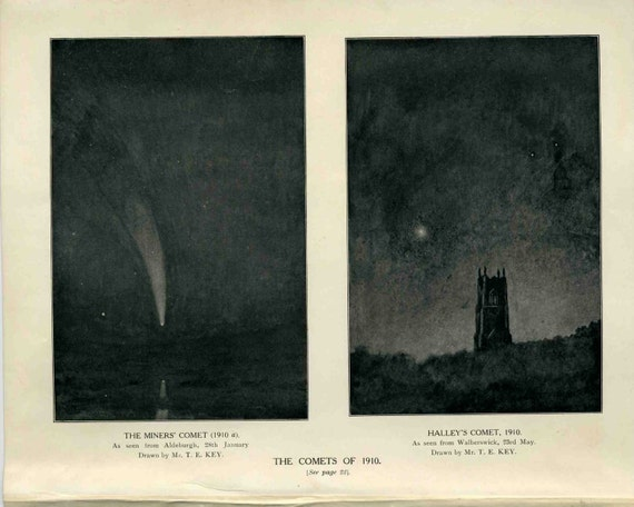 1910 comets halley's and miners' comets original vintage celestial astronomy print