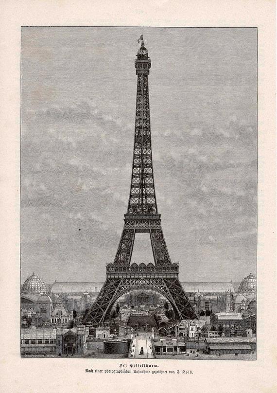 1889 paris eiffel tower original antique city view print of france