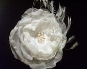 Ivory Sheer Organza Flower Fascinator